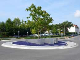 Roundabout with glass chippings cobalt blue